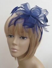 New Navy Blue Coiled Feather Fascinator Headpiece Weddings Funeral Races, Partys