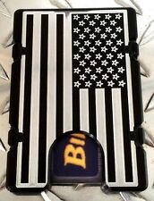 Billet Vault Aluminum Wallet,RFID protection,Black Anodized,Large American Flag