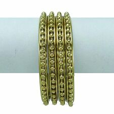 Traditional Goldtone Metal 4 Pcs Bangles Set Indian Bridal Women Jewellery 2*8