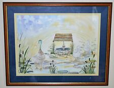 """Mother Duck & Babies""Signed Watercolour Pen & Ink by Artist C. Pamela Wetherall"