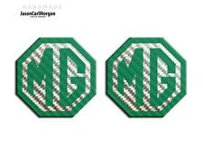 MG TF LE500 70mm Badge Insert Set Front Grill Rear Boot  MG Logo Green Carbon