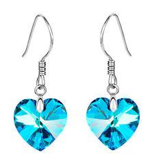 Crystal Jewellery Ocean Blue Hearts Drop Earrings E845