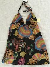 New TRINA TURK Swim Spa Collection HALTER Top Coverup S BLACK Silk Floral $145