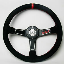 350mm Black Suede Leather Mid Deep Dish Steering Wheel SPC Drifting Racing OMP