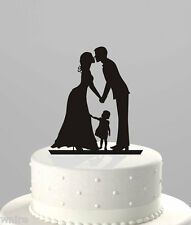 stunning silhouette Bride & Groom WITH LITTLE GIRL Wedding cake Toppers