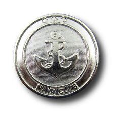 """5 maritime silberfarb. Metall Knöpfe mit großem  Anker """"Navy Club"""" (2373si-16)"""