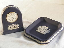 "Wedgwood ""Portland Blue "" Jasper Ware  Small Dome Clock & matching  Tray, !!!!"