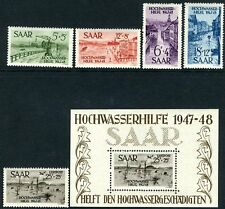 GERMANY (SAAR)-1948 Flood Disaster Relief Fund Airmail Set and Minisheet V9869