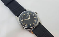 RARE 1960'S ZENITH PILOT CAL:2542 BLACK DIAL MANUAL WIND SS CASE MAN'S WATCH