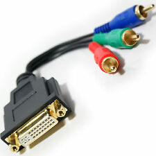 3 RCA Component RGB Male to DVI-I Analogue Female Adapter - TV/PC Monitor Video