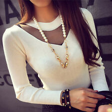 Womens Ladies V- Neck Lace Tops Long Sleeve Knitted Blouse T-shirt Top White