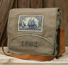 1862 Canvas Messenger Bag Leather Strap Canada 50 Cent Stamp Unisex Laptop Case