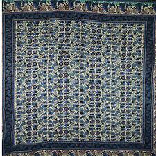 Tagesdecke Pastorale 240 x 210 cm lila-blau-grün Indien Decke Überwurf Vorhang