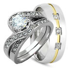 His/Hers 3pcs .925 STERLING SILVER and STAINLESS STEEL wedding bridal ring set