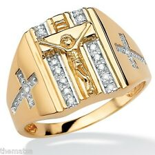 MENS 18K GOLD OVER STERLING SILVER CRUCIFIX CROSS DIAMOND RING 9,10,11,12,13