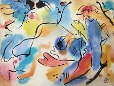 Unique watercolor and ink painting, abstract composition,signed Wassily KANDINSY