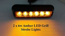 2x Flashing Amber Breakdown 12v 24v Recovery Strobe Orange Grille 6 led Lights