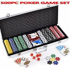 CASINO POKER 500PC PIECE CHIP SET TEXAS HOLD'EM PROFESSIONAL CARD GAME CASE GIFT