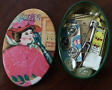 Vintage Coca Cola Soda Pop Mini Sewing Kit w/contents in Tin Container 1981