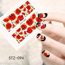 Nail Art Water Decals Full Wraps Remembrance Poppy Armistice Day Flowers (stz94)