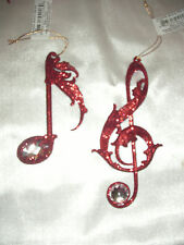 """2 pc Lot 4.5"""" Red Jeweled Musical G Clef & Quarter Note Christmas Ornaments"""