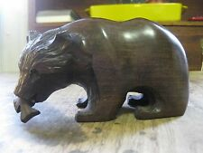 hand-carved hardwood (mahogany) -GRIZZLY BEAR CATCHING SALMON -wood figurine art