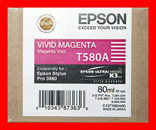 09-2012 Genuine Epson Pro 3880 T580A  T580A00 vivid magenta printer ink New