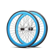 Fixie 700c Deep 45 mm Fixed  Front & Rear Wheels set  w Tire Tube Blue