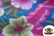 """Polar Fleece Fabric Print Floral MultiColor Hibiscus 60""""W Sold by the yard S-167"""