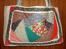 STRAWBERRY PATCHWORK PURSE TOTE TRAVEL LOVELY HANDCRAFTED OVERSIZE