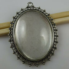 2Set Silver Tone Oval Frame Holder Base Setting + 40*30mm Glass Cameo Pendant