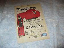 SPARTITO MUSICALE PINOCCHIO AVVENTURE DI UN BURATTINO E.BECUCCI ALBUM RICREATIVO