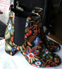 RARE M&S Collection Embroidered Floral Ankle Boots Size 5/38 BRAND NEW SOLD OUT