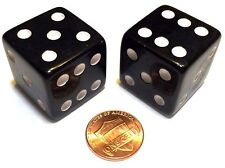 2x JUMBO Dice Six Sided D6 25mm Standard Square Edged Die BLACK With White Pips