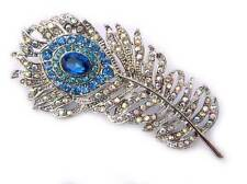 Blue Rhinestone Crystal PEACOCK Feather Silver Plated Pin Brooch