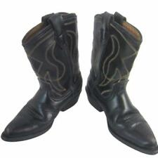 Cowboy Boots Kids Vintage Black Leather Size 8-1/2 D Halloween Western Costume