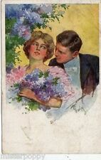 Amanti Glamour Girl in Love Flowers BKWI 262 Coppietta Donnina PC Viaggiata 1926
