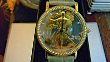 WALKING LIBERTY!! 24K RGP DIAL!! GRAY & GOLD Large Leather Band!!!!