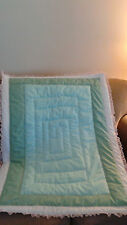 Mint green eyelet and pink ruffle baby crib quilt  blanket handmade