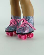 """Rainbow Sparkle Roller Skates With Pink Ties for American Girl Dolls - 18"""" Dolls"""