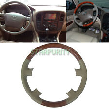 Tan Leather Wood Steering Wheel Cover 98-02 Toyota Land Cruiser FJ100 4700 4500