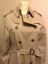 NEW LONDON FOG DOUBLE BREASTED DETACHABLE FLANNEL LINER LONG TRENCH COAT SZ 8