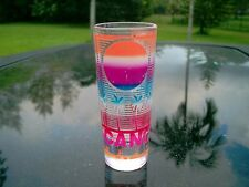 CANCUN MEXICO  LOGO  TALL SHOT GLASS SOME PAINT MISSING CLEARANCE CHEAP ITEM