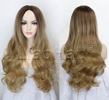 Long Wavy Ombre Wig Two Tone Ombre Brown Wig for Women Dip Dye Brown Hair Wigs
