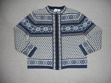 Womens Sweater-FROST-off-white/blue/navy Nordic/Norwegian wool cardigan ls-PL