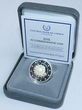 "2015 Cyprus 2 euro Proof coin ""30th European Union Flag"" new in box + COA"