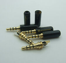 3 pcs Copper 3.5mm 4-Pole Male Repair Headphone Plug Metal Audio Soldering BLACK