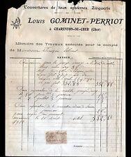 """CHARENTON-du-CHER (18) COUVERTURE ZINGUERIE """"Louis GOMINET-PERRIOT"""" en 1912"""