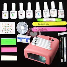 6 Colours Soak Off Gel Nail Polish Top Base Coat 36W UV Lamp Manicure Kits