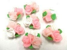 20 New Polymer Fimo Clay Flower Rose Beads 25mm Pink White Bouquet wedding